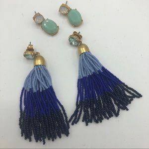 J Crew Blue Tassel Tear Drop Earrings Bundle Green
